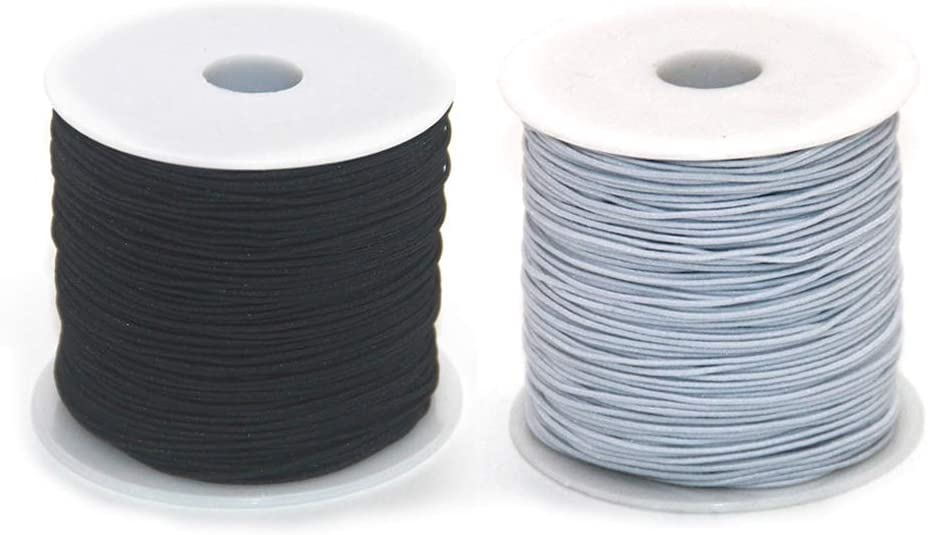Ewparts 2 Roll Elastic String Cord Elastic Thread Beading String Cord for Jewelry Making Bracelets Beading 100 Meters//Roll 1 mm White and Black