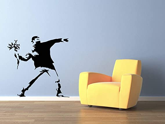 Details about  /Adhesive Wall Flowers Style banksy Flower Bomber Wall Stickers PVC Black Red show original title