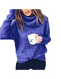 EISHOW Elegant Women Casual Sweaters Turtleneck Loose Long Sleeve Soft Cable Knitted Pullover Oversized Tops Jumper