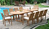 New 11 Pc Luxurious Grade-A Teak Dining Set -117″ Mas Oval Table (Trestle Leg) And 10 Stacking Leveb Arm Chairs #WHDSLVe