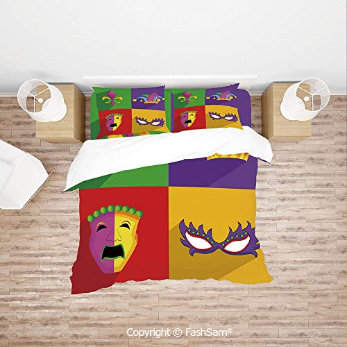 FashSam Duvet Cover 4 Pcs Comforter Cover Set Colorful Frames with Mardi Gras Icons Masks Harlequin Hat and Fleur De Lis Print for Boys Grils ()