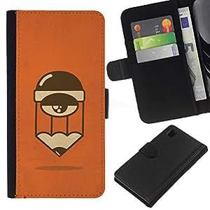 Cansado Sleepy personaje de dibujos animados de Orange- la tarjeta de Crédito Slots PU Funda de cuero Monedero caso cubierta de piel Para Sony Xperia Z1 L39