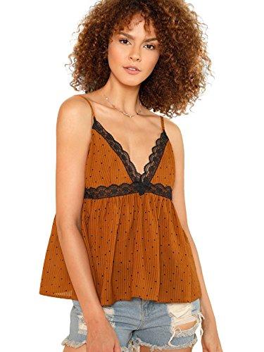 Ruffle Trim Cami (Romwe Women's Sleeveless Lace Trim Polka Dot Ruffle Hem Cami Blouse Top Brown S)