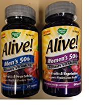 Alive- Men's AND Women's, 50 and older, Gummy Chewable Multivitamin, 60 CT (COMBO PACK)