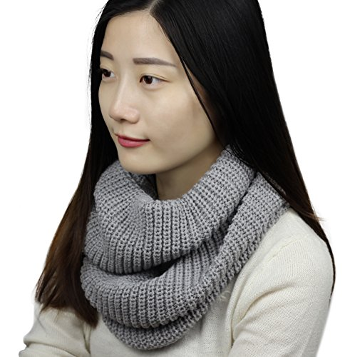 Sudawave Women Winter Knitted Infinity Scarf Fashion Circle Loop Scarves Thick Ribbed Warm Cowl (Gray)