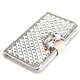 For Sony Xperia Z3 Case, Moonmini® 3D Luxury Bling Rhinestones Diamonds Bow Bone PU Leather Flip Case Cover Wallet with Card Holders for Sony Xperia Z3 (White)