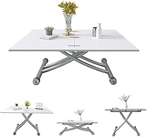 Jeffordoutlet Dining Party Table Lift Up Modern Shape Height Adjustable Coffee Tablewhite Living Room Outdoor Furniture