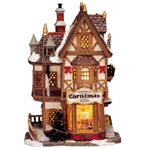 "Lemax Porcelain Lighted House Village Tannenbaum Christmas Shoppe 11.5"" H X 7.2"""