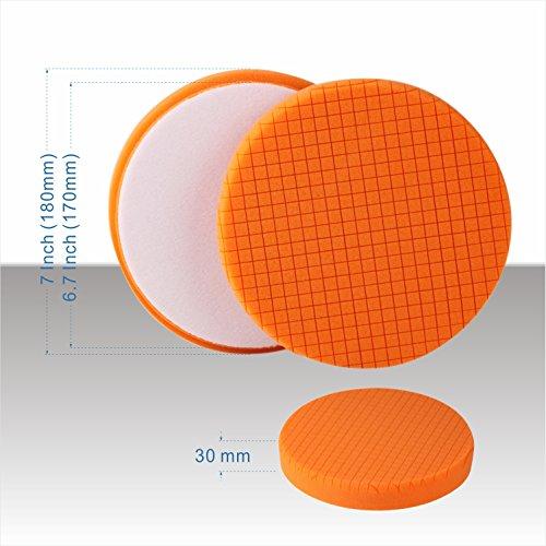 SPTA 5Pcs 7''/180mm Compound Buffing Sponge Pads Polishing Pads Kit Buffing Pad For Car Buffer Polisher Sanding,Polishing, Waxing by SPTA (Image #4)