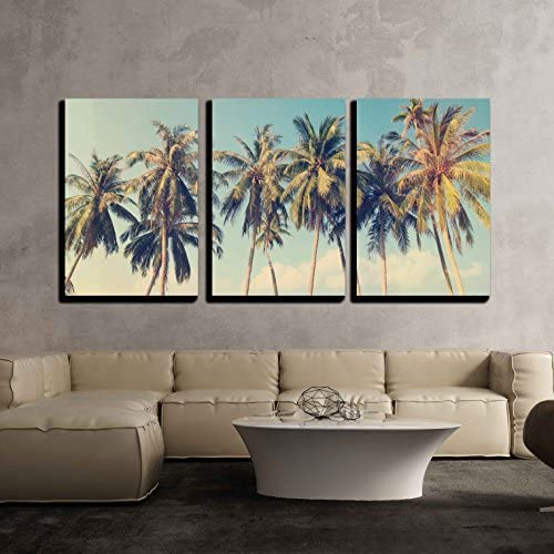 Vintage Tropical Palm Trees on a Beach x3 Panels