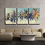 wall26 - 3 Piece Canvas Wall Art - Vintage Tropical Palm Trees on a Beach - Modern Home Decor Stretched and Framed Ready to Hang - 24'x36'x3 Panels