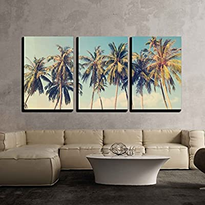 3 Piece Canvas Wall Art - Vintage Tropical Palm Trees on a Beach - Modern Home Art Stretched and Framed Ready to Hang - 16
