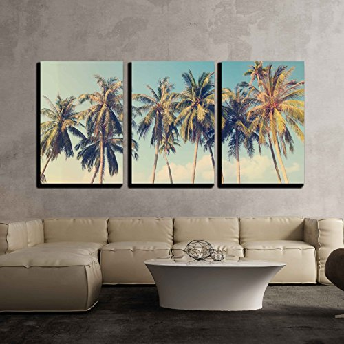 (wall26 - 3 Piece Canvas Wall Art - Vintage Tropical Palm Trees on a Beach - Modern Home Decor Stretched and Framed Ready to Hang - 16