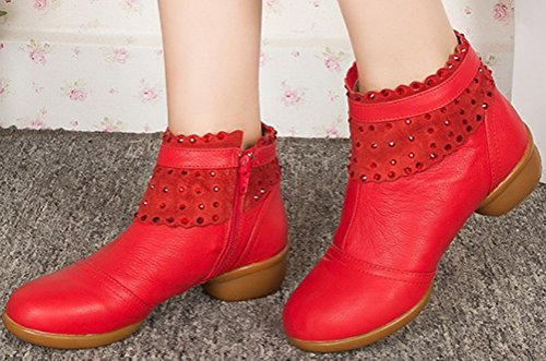Abby Womens Comfortable Professional Square Dance Leather Split-Sole Sneaker Orange wAmAIVBR
