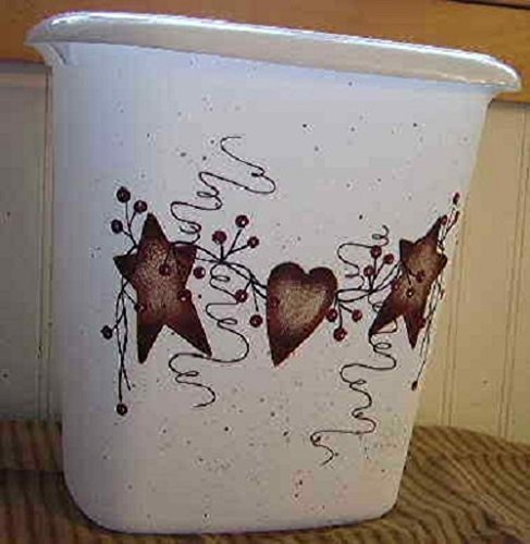 Rusty Heart (Primitive Country Decor Hand Painted Rusty Tin Stars, Heart, Pip Berry Vine Bathroom Trash Can 2.5 Gallon Made in USA)