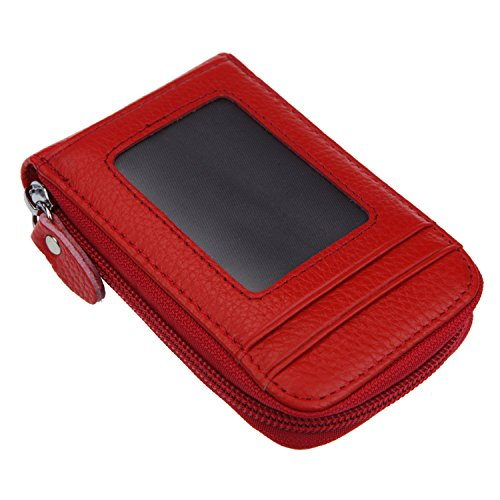 Clip Zip Id Case - DKER Genuine Leather Mini Credit Card Case Organizer Compact Wallet with ID Window - Red