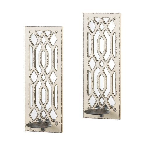 Taczotech Wood and Iron Deco Mirror Wall Sconce Set, Home Decor