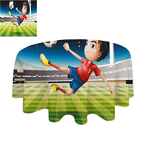 SATVSHOP Round tablecloth-40Inch-For The Kitchen.Kids Young Boy Playing Football in The Stadium Athlete Sports Soccer Championship Graphic