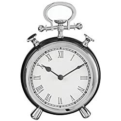 Vintage Stopwatch Chrome Accent 7 x 10 Inch Metal Standard Tabletop Clock