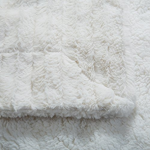 Tache White Ivory Super Soft Warm Polar Faux Fur with Sherpa Throw Blanket 90 x 90