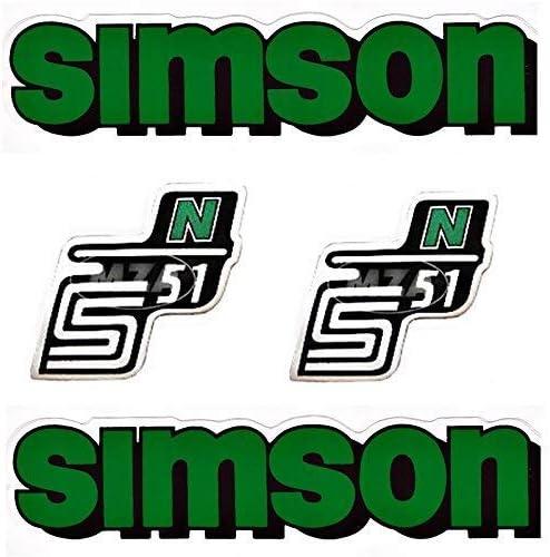 GR/ÜN Set Aufkleber Klebefolie Simson S51 N f/ür Tank und Seitendeckel von BISOMO/®