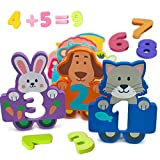 train number puzzle - Foam Numbers Educational Bath Toys for Kids 27 Count for Pre-School - Fun Colorful Cartoon Animal Characters - Toys Float and Come With Bonus Mesh Bag for Storage & Quick Dry - Kids Learn Numbers