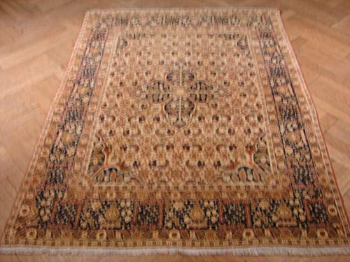 4x5 Ivory Wool Authentic Old Herati Carpets for Less Handmade Rug ()