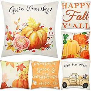Blulu 6 Pieces Fall Pillow Covers Pumpkin Square Throw Autumn Pillow Covers Cotton Linen 18 x 18 Inch for Autumn Thanksgiving Decorations
