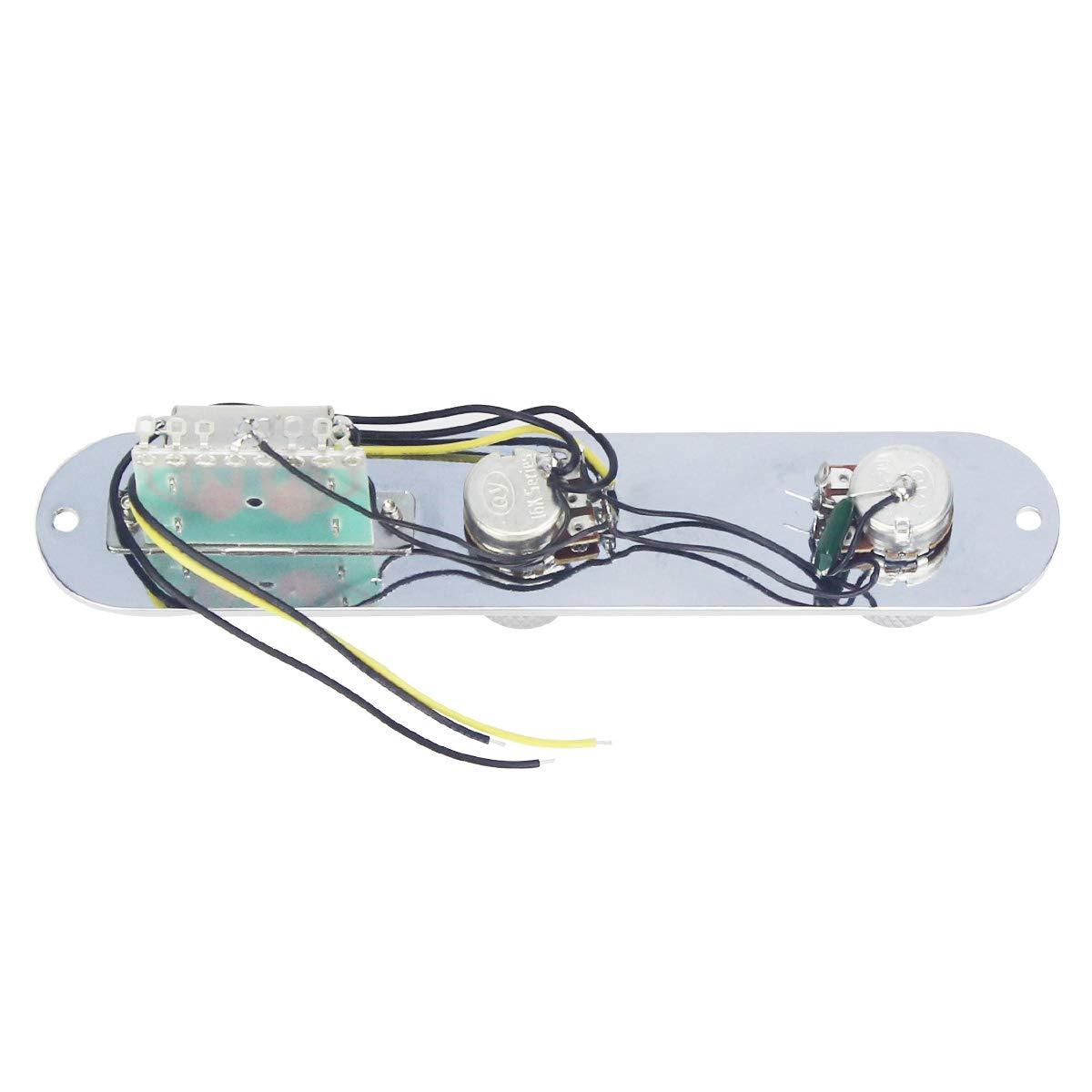 Chrome IKN Loaded Placca di controllo interruttore con cablaggio manopole per Fender Telecaster Tele chitarra