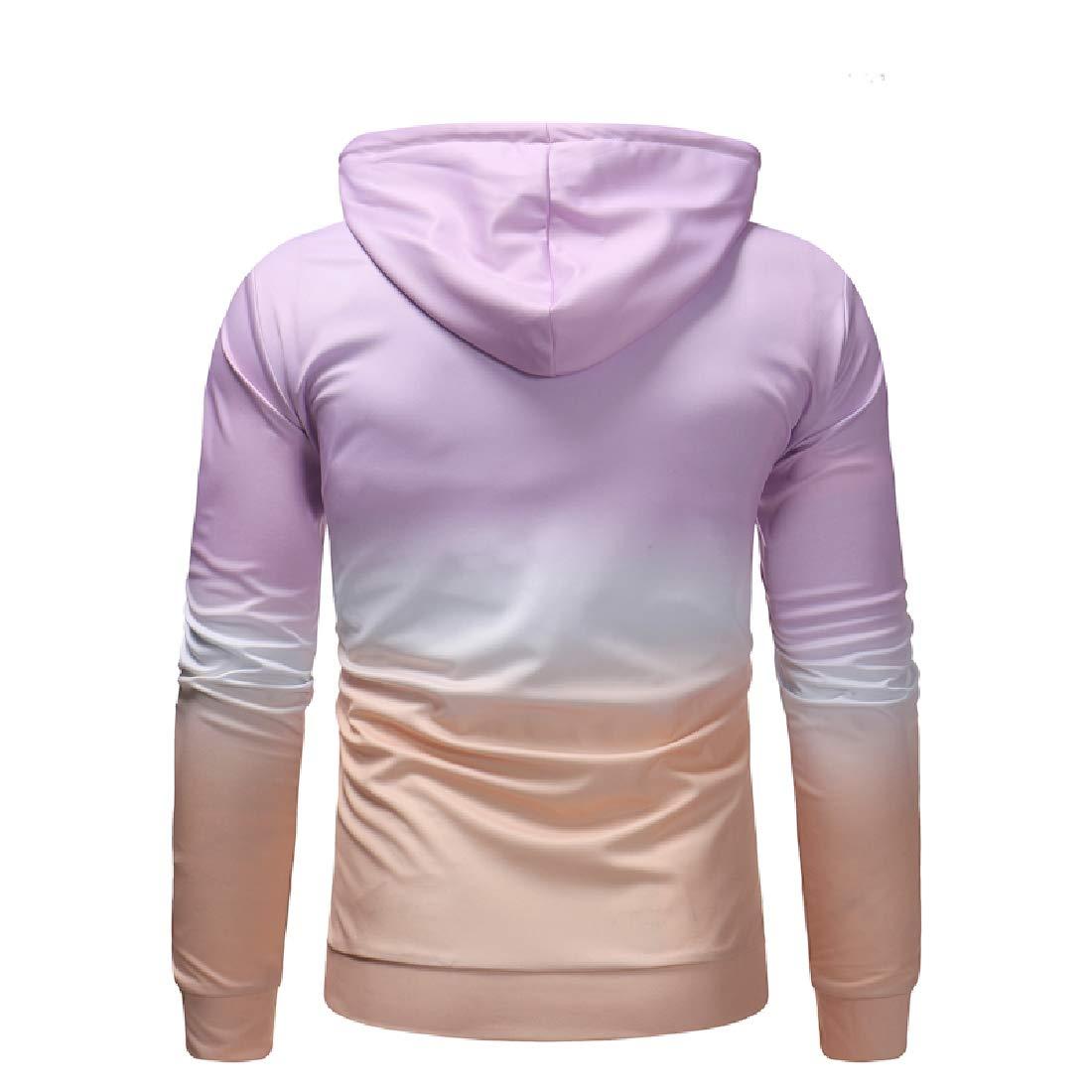 YUNY Mens Gradient Ramp Long Sleeve Casual Loose Slim Fit Hoodie Jacket Light Purple XL