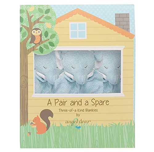 Angel Dear Pair and a Spare 3 Piece Blanket Set, Blue Elephant (Elephant Blue)