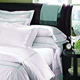 Grande Hotel by Sferra - Full/Queen Duvet Cover 88x92 (White/Aqua)
