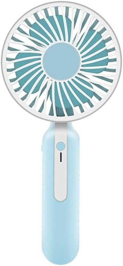 Air Cooling Fan Mini Portable Fan 1200mAh USB Rechargeable 3 Speed Strong Wind Handheld Stand Table Cooling Fan Home Office Color : Blue, Size : with Base