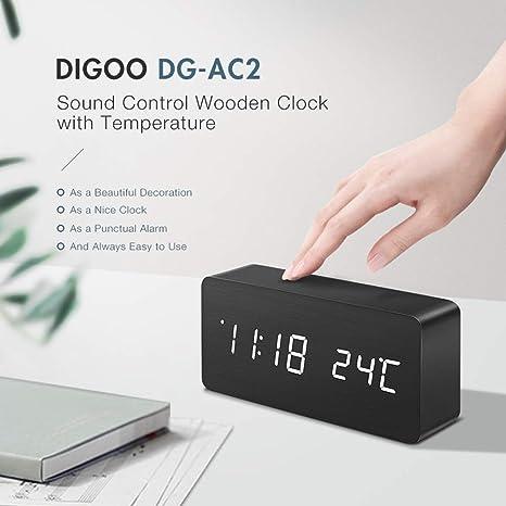 okdeals Digoo DG-AC2 - Despertador Digital de Madera con ...