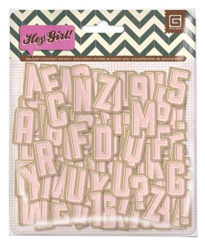 - BasicGrey Hey Girl Collection Printed Chipboard Alpha
