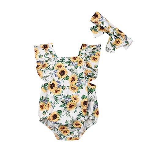 - Newborn Baby Girls'One-Piece Romper Sunflower Ruffled Sleeve Jumpsuit Bodysuit with Headband Outfit Sets (Yellow, 18-24m)