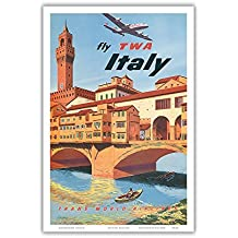 Italy - Trans World Airlines Fly TWA - Vintage Airline Travel Poster by Frank Lacano c.1950s - Master Art Print - 12in x 18in