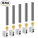 JANSANE 5pcs 0.4mm Extruder Nozzle Brass + 5pcs Aluminum Heater Block Hotend + 5pcs 30mm Teflon Throat Tube 1.75mm for MK8 Makerbot Anet A8 Reprap Prusa i3