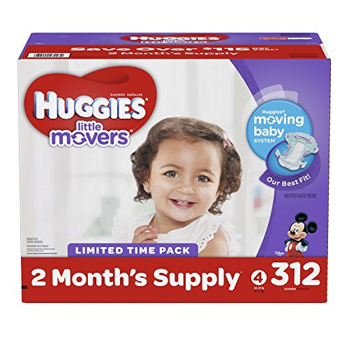 Huggies Little Movers Baby Diapers, Size 4 (312 ct.) by HUGGIES