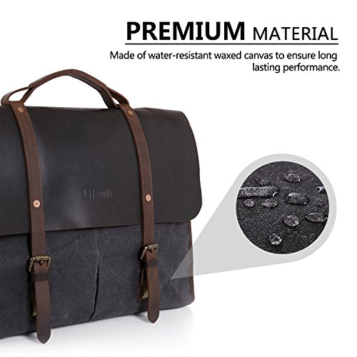 0191e47b6711 Lifewit Mens Messenger Bag Leather Waterproof Waxed Canvas Laptop Satchel  Shoulder Briefcase LF210915GY
