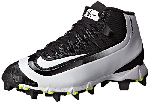 Nike Kids' Huarache 2KFilth Keystone Mid Baseball Cleats (6, Black/Volt/White)