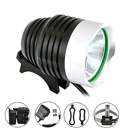 Comunite 1200 Lumens Super Bright Cree Xlm LED Flashlight Bike light Headlamp Flashlight with 5200mah Battery Pack, for Camping,Hiking and So On.