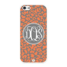 iZERCASE Monogram Personalized Orange Giraffe Pattern Animal Print RUBBER iphone SE / iPhone 5Scase - Fits iphone SE, iPhone 5S T-Mobile, AT&T, Sprint, Verizon and International (White)