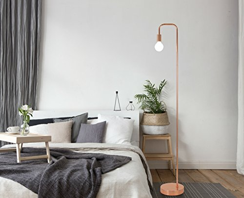 Floor Lamp for Living Room, Industrial Rose Gold Metal Reading Lamp, Contemporary Bedroom Décor, Led Bulb 4W Gifts by LA JOLIE MUSE (Image #3)