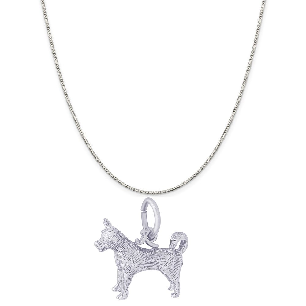 Rembrandt Charms 14K White Gold Husky Charm on a 14K White Gold Box Chain Necklace, 20''