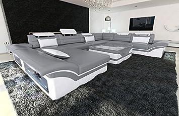 Luxus Sofa Enzo Xxl Designer Wohnlandschaft Led Grau Weiss
