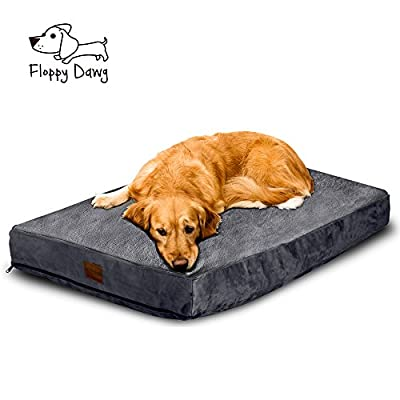 Floppy Dawg Large Dog Bed Removable Cover Water Resistant Liner | Perfectly Stuffed To 4 Inches High Memory Foam Pieces Dogs 40 To 90 Pounds | Available in Beige Gray