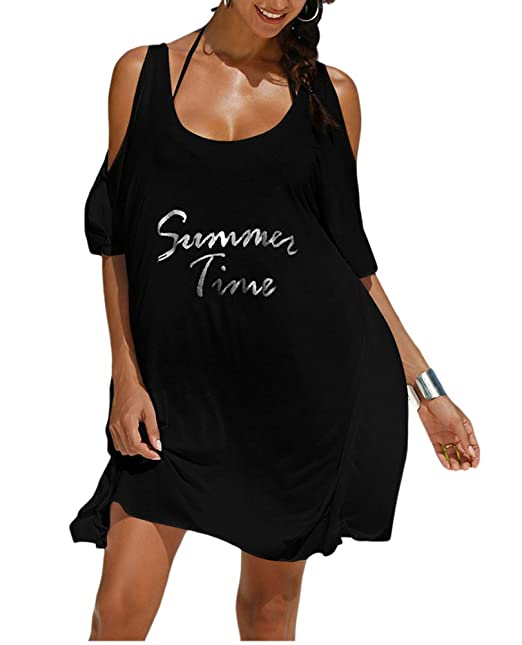 a4059ba19c9f2 Sexy Beach Cover Ups for Swimwear Loose Swimsuit Bikini Dresses Summer Half  Sleeve Tops Shirts Blouses  Amazon.co.uk  Clothing