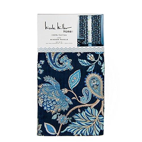 Nicole Miller Paisley Jacobean Flowers Vines Window Curtains 400 Thread Count 100% Cotton Set of 2 Window Panels Pair Drapery Navy Blue Taupe Beige (52W x ()