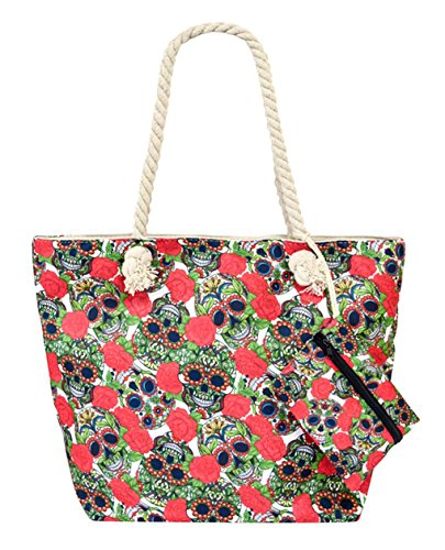(Canvas Tote Bag with Coin Purses (Sugar Skull/w Red Roses Style02))